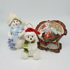 """LOT # 1&2 OF CHRISTMAS DECORATIONS Miniature 5"""" Tall or less Snowman Mouse Bear"""