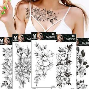 Art Sticker Waterproof Temporary Tattoo Black Sketch Rose Flower Fake Nice L8U1