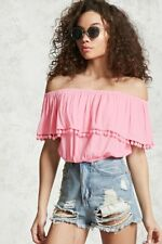 F21 PINK ELASTICIZED PEASANT TOP WITH POMPOMS NWT SZ SMALL