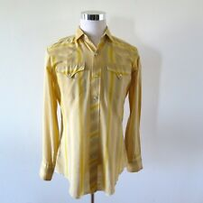 VINTAGE ORIGINAL LEVIS WESTERN SHIRT HBARC PEARL SNAP BUTTON LONG TAIL SIZE M