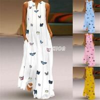 Women Summer Butterfly Print Sleeveless Tank Dress Long Maxi Beach Boho Dresses
