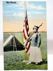 WWI PATRIOTIC POSTCARD WACS, WOMAN SOLDIER WITH RIFLE & FLAG - MAN WANTED