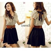 Korean Women Summer New Fashion Short-sleeve Dots Polka Waist Dress Chiffon LM02