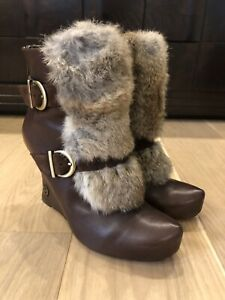 House Of Harlow Platform Booties Brown with Fur Size 41/US 10