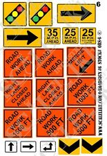 SCALELIKE INDUSTRIES O-ROADWAY SIGNS 6 (ORS-6) PRINTED ON PLASTIC FACTORY NEW