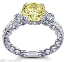 3 Carat Canary Yellow Cubic Zirconia Solitaire Ring Pave Setting Silver Size 8.5