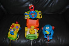 SESAME STREET PULL TOY LOT COOKIE MONSTER & BIG BIRD WITH ELMO DRIVING WHEEL