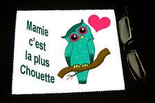 """Chiffonnette essui lunettes  """"Mamie c'est la plus chouette"""" m 2 Fête grand mère"""
