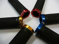 Bike Locking Lock On Handlebar Grips New Bicycle cycle Blue Gold Red & End Plugs