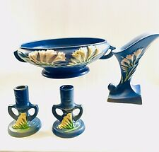 Roseville Matched Signed Pinecone Pair 1123 Candle Holders Sticks Rich Blue Art Deco