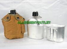 3 PC Military Style 1 QUART QT ALUMINUM CANTEEN w/ CANTEEN CUP & 1QT COVER NEW