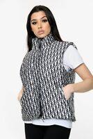Gilet Women Ladies Letter Printed Puffer Vest Jacket Bodywarmer Monochrome Zip