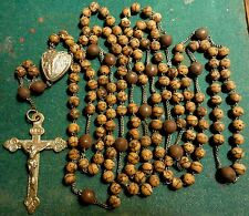 "Antique VERY LGE 56"" WOOD BEADS 15 DECADES FULL ROSARY OF LOURDES"