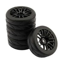 4Pcs 1/10 Rubber Tire Rc Racing Car Tires On Road Wheel Rim Fit For Hsp Hpi E4W