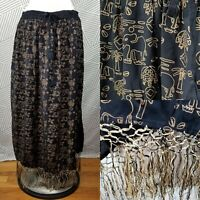 African Scene Skirt Plus Size 1X Elephant Animal Print Cotton Long Maxi Fringe