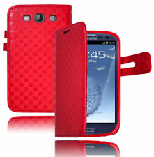 For Samsung Galaxy S3 III i9300 i747 Red Leather Flip Wallet Case Cover