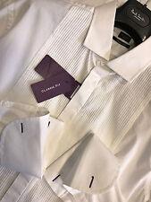 "Paul Smith Evening Shirt Raised Stripe Bib 17"" Classic Fit Double Cuff RRP £165"