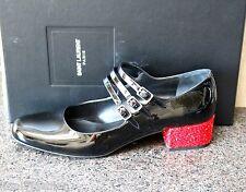 NIB YSL SAINT LAURENT PARIS BABES BLK GLITTER PATENT MARY JANE PUMPS Shoes 39.5