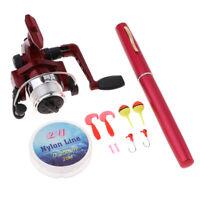11PCS Telescopic Fishing Rod Pen Shape Reel Lures Bobbers Fishing Tackle