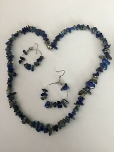 Blue Lapis Chip Stones Necklace & Earrings Set Stainless Steel Magnetic Clasp