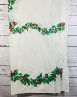 "Vintage Christmas Print Cotton Tablecloth Holly Bells  85"" X  143"" Rectangular"