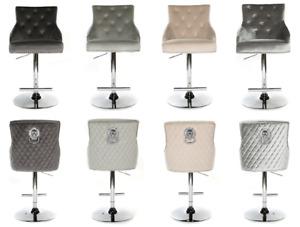 Luxury Bar stool Grey Beige Silver Velvet Swivel Kitchen Breakfast Chair Lion