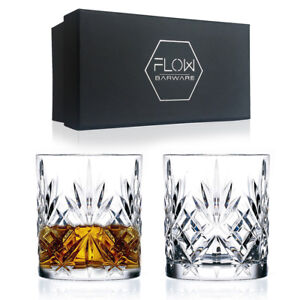 Set Of 2 Crystal Whiskey Glasses Bar Gift Scotch, Bourbon G&T Tumblers BOXED