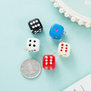 10Pcs Dice DIY Earring Pendants 14mm Miniature Figurines Resin Craft Cabochon
