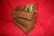 3x Rustic Wooden Planters. Seed tray, crate for herbs, garden flower plant pots