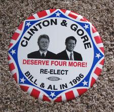 """GIANT 9"""" 1996 CLINTON & GORE DESERVE 4 MORE JUGATE PICTURE CAMPAIGN BUTTON"""