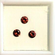 (3) Matching 5 mm Round Cut Natural Sierra Red Zircon Loose Gemstone - 2.0 ctw