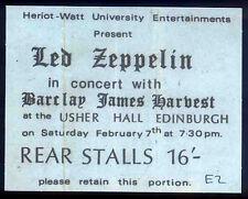 LED ZEPPELIN REPRO 1970 EDINBURGH USHER HALL CONCERT TICKET 7 FEB . JIMMY PAGE