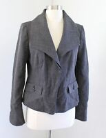 NWT Ann Taylor Black White Gray Knit Wide Oversized Collar Blazer Jacket Size 8