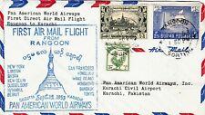 More details for burma : pan american airways first flight cover, rangoon to karachi (1953)