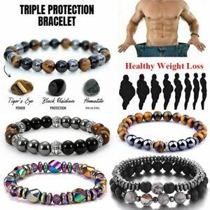 Obsidian Tiger Eye Hematite Bracelet Triple Protection Stone Bangle Weight Loss