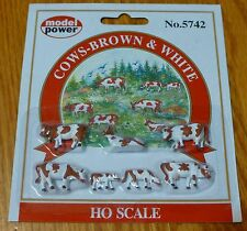 Model Power #5742 Animals pkg(6) -- Cows & Calves (brown, white)