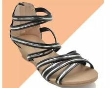 "Khoee AZ-39 Women's Wedge Sandals 1.5"" Heels with Back Zipper (black)   SIZE 40"
