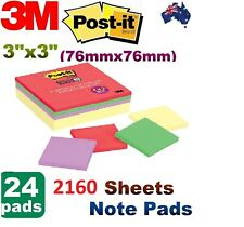 Post-it Note Pads Office Sticky Memo 2160 X 3M Canary Yellow Purple Green