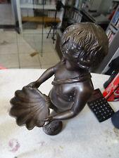 Bronze / Messing Figur - Junge mit Schale - 3,16kg