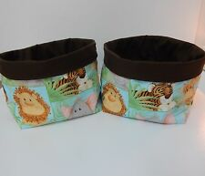 Fabric Baskets - 2 - Jungle Babies  Nursery Nappy Holders Gorgeous! Great Gift!