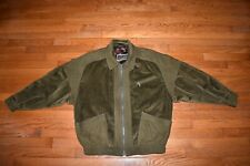 Gene Hiller Sausalito GREEN LEATHER Contrast CORDUROY Dress BOMBER JACKET 42