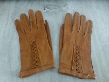 ancien gant cuir femme 7 1/4 couleur camel vintage retro