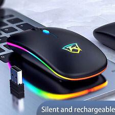 Mouse wireless sottile USB silenzioso a 2,4 GHz RGB ricaricabile per PC laptop