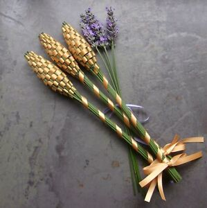 Lavender Filled Handwoven Wands 3 Medium Old Gold Double Sided Satin Ribbon