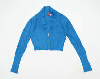 H&M Womens Size 8 Textured Blue Cardigan (Regular)
