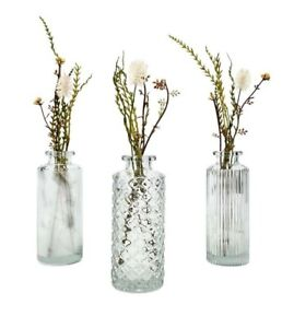 Set of 3 Small Clear Glass Bottles Vintage Style Ribbed Bud Vase Wedding Table