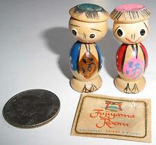 2 little Japanese wood figurines- Hand painted- Fujiyama Room-Northwest Airlines