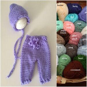 Newborn Hand Knit Pants Bonnet Hat SET for Baby Girl Boy Photo Prop Photography