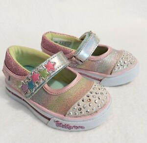 Skechers Girls Sz 5 Twinkle Toes Maryjane Summer Lightup Shoes Stars Pink