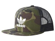Adidas Originals Mens Camo Baseball Trucker Mesh Flat Brim Cap BNWT Trefoil Hat